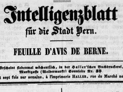 Intelligenzblatt von und für die Stadt Bern