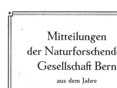 Mitteilungen der Naturforschenden Gesellschaft Bern