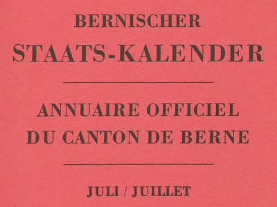 Staatskalender des Kantons Bern | Annuaire officiel du canton de Berne